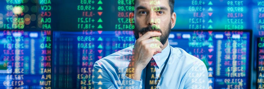 Person in finance look at stocks
